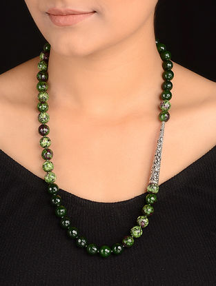 Green and Maroon Agate Beaded Silver Necklace