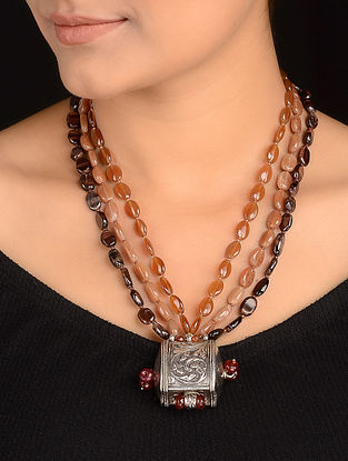 Carnelian and Tigers Eye Beaded Silver Necklace