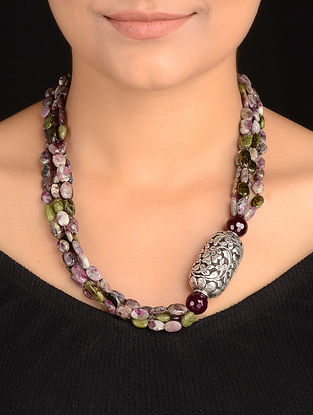 Tourmaline Beaded Silver Necklace with Chitari Work