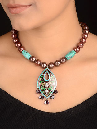Turquoise and Pearl Enameled Silver Necklace