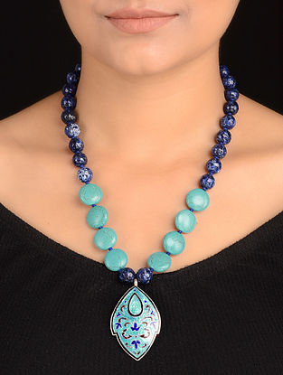 Blue Agate and Turquoise Enameled Silver Silver Necklace