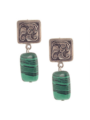 Malachite Silver Earrings with Chitari Work