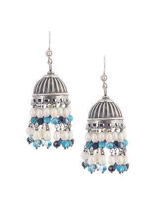 Blue Agate and Pearl Silver Jhumkis