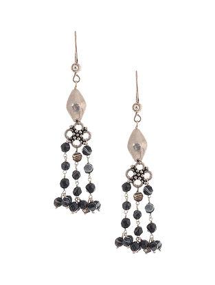 Black Banded Agate Silver Earrings