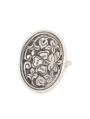 Tribal Adjustable Silver Ring with Chitari Work