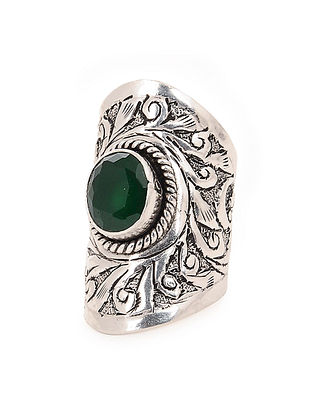 Green Adjustable Silver Ring with Chitari Work
