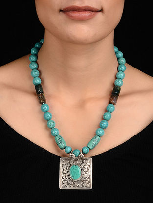 Turquoise and Onyx Beaded Silver Necklace with Chitari Work