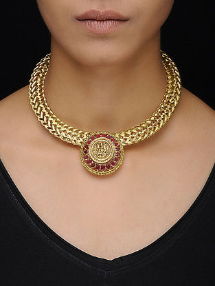 Pink Gold Tone Silver Necklace