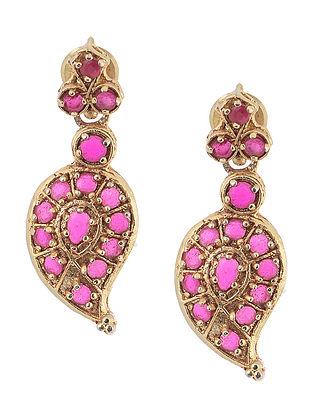 Pink Gold Tone Silver Earrings