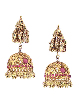 Pink Gold Tone Silver Jhumkis with Deity Motif