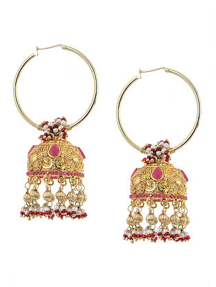 Pink Gold Tone Silver Jhumkis