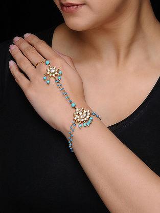 Blue Kundan-inspired Gold-plated Silver Hathphool