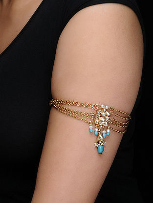Blue Kundan-inspired Gold-plated Silver Bajubandh with Pearls