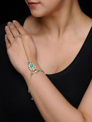 Blue Kundan-inspired Gold-plated Silver Hathphool with Pearls