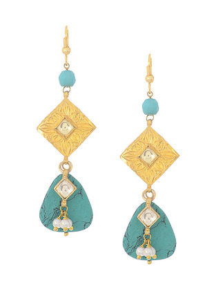 Blue Kundan-inspired Gold-plated Silver Earrings with Pearls