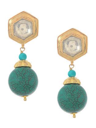 Blue Kundan-inspired Gold-plated Silver Earrings