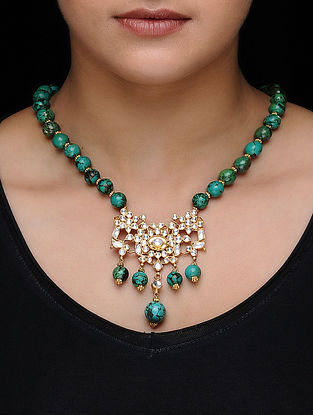 Blue Kundan-inspired Gold-plated Silver Necklace