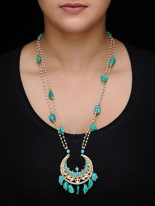 Blue Kundan-inspired Gold-plated Silver Necklace with Pearls