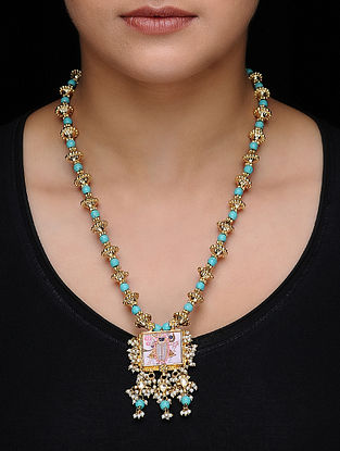 Blue Kundan-inspired Gold-plated Silver Necklace with Deity Motif