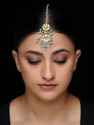 Blue Kundan-inspired Gold-plated Silver Maangtika with Pearls
