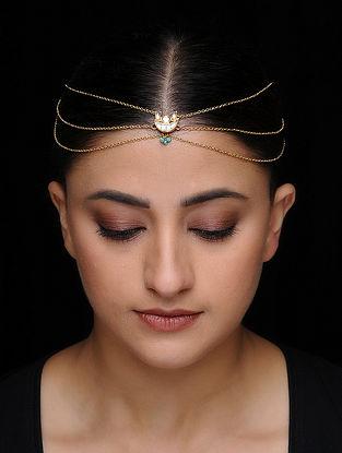 Blue Kundan-inspired Gold-plated Silver Matha Patti