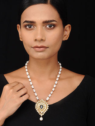 Pearl Beaded Kundan-inspired Silver Necklace