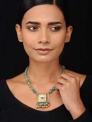 Green Beaded Kundan-inspired Gold Tone Silver Necklace