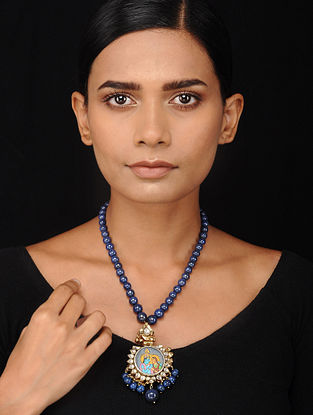 Blue Beaded Kundan-inspired Silver Necklace with Hand-painted Deity Motif