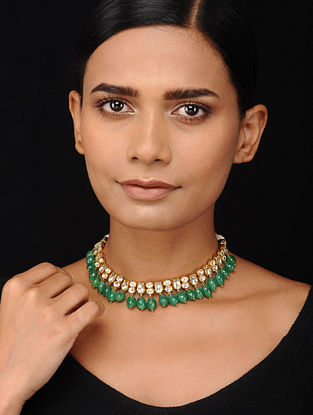 Green Kundan-inspired Gold Tone Silver Necklace