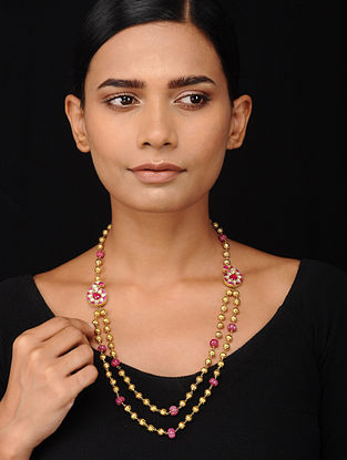 Pink Kundan-inspired Gold Tone Silver Necklace