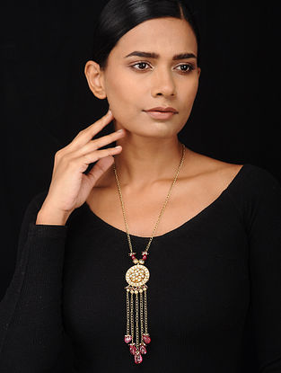 Ruby and Tourmaline Kundan-inspired Gold Tone Silver Necklace