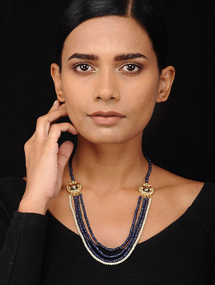Blue Beaded Kundan-inspired Silver Necklace with Pearls