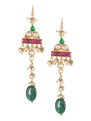 Pink-Green Gold Tone Kundan-inspired Silver Earrings
