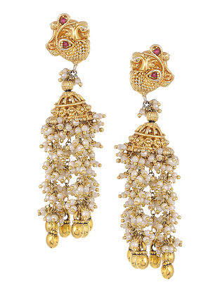Pink Gold Tone Kundan-inspired Silver Earrings with Pearls