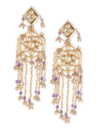 Purple Kundan-inspired Gold Tone Silver Earrings