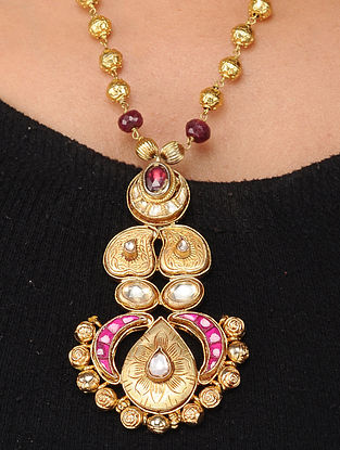 Pink Gold Tone Kundan-inspired Silver Necklace
