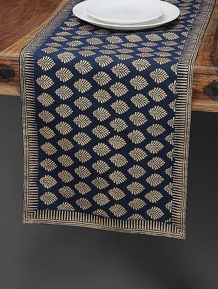 Navy Blue-Beige Khari-printed Silk Table Runner with Boota Jaal