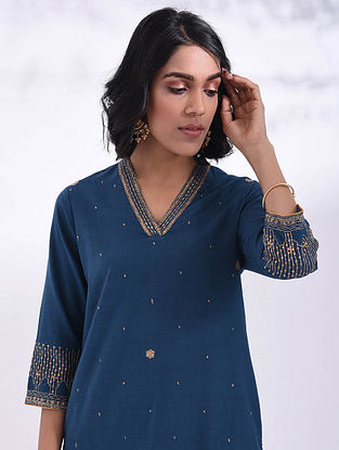 MAGHA - Blue Hand Embroidered Cotton Kurta with Sequin Work