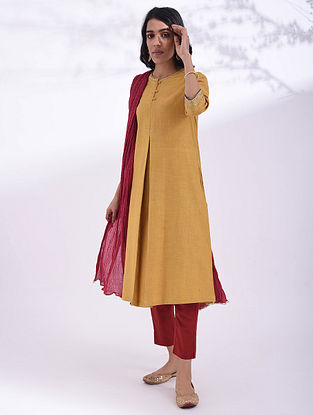 PURVA - Mustard Hand Embroidered Cotton Kurta with Sequin Work