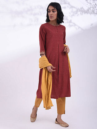 MULA - Red Hand Embroidered Cotton Kurta with Sequin Work