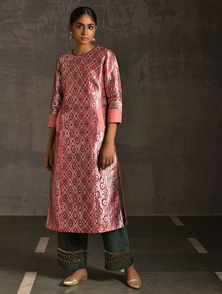 MEER - Pink Vintage Benarasi Silk Brocade Quilted Kurta with Pockets