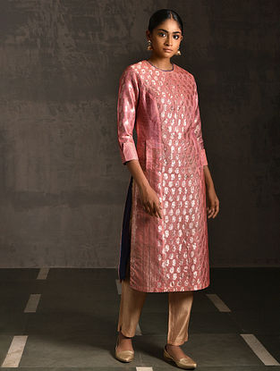 BHADAINI - Pink Vintage Benarasi Silk Brocade Quilted Kurta with Pockets