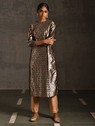 TULSI - Brown Vintage Benarasi Silk Brocade Quilted Kurta with Pockets