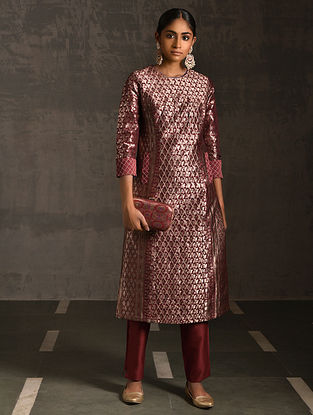 NIRANJANI - Maroon Vintage Benarasi Silk Brocade Quilted Kurta with Pockets