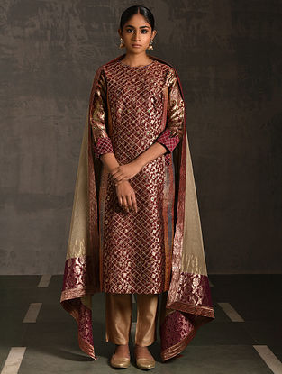 GULARIA - Maroon Vintage Benarasi Silk Brocade Quilted Kurta with Pockets