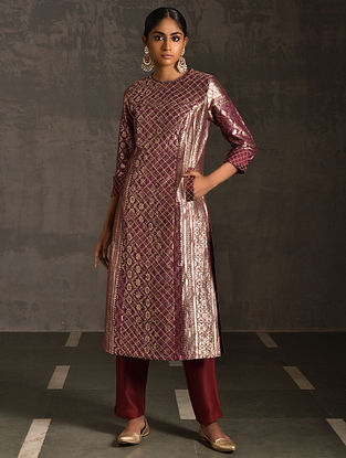 NISHAD - Pink Vintage Benarasi Silk Brocade Quilted Kurta with Pockets
