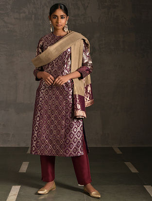 PANCHKOTA - Pink Vintage Benarasi Silk Brocade Quilted Kurta with Pockets