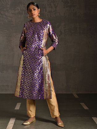 SAKKA - Purple Vintage Benarasi Silk Brocade Quilted Kurta with Pockets