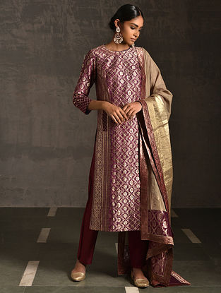 KEDAR - Pink Vintage Benarasi Silk Brocade Quilted Kurta with Pockets
