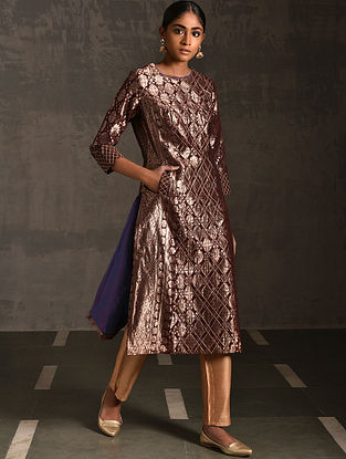 ASSI - Maroon Vintage Benarasi Silk Brocade Quilted Kurta with Pockets